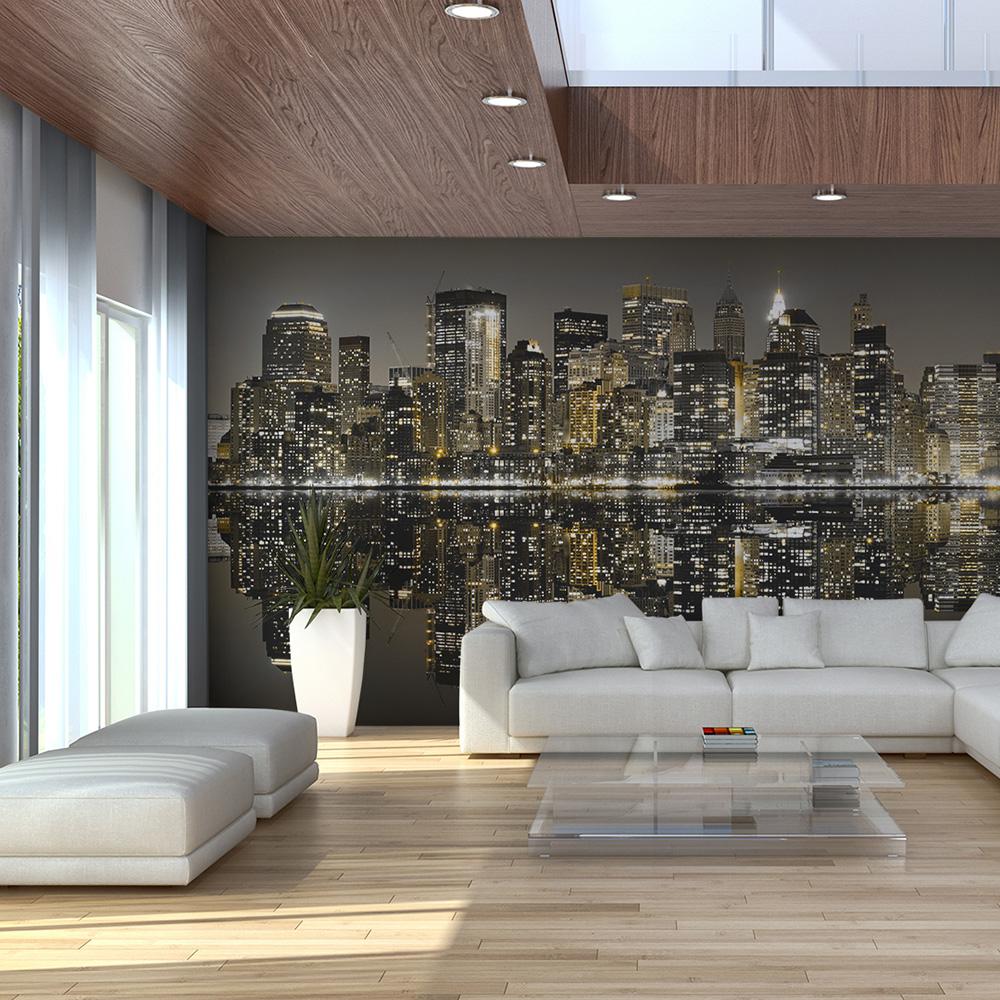 Carta da parati grattacieli di new york fotomurale carta for Carta parato adesiva