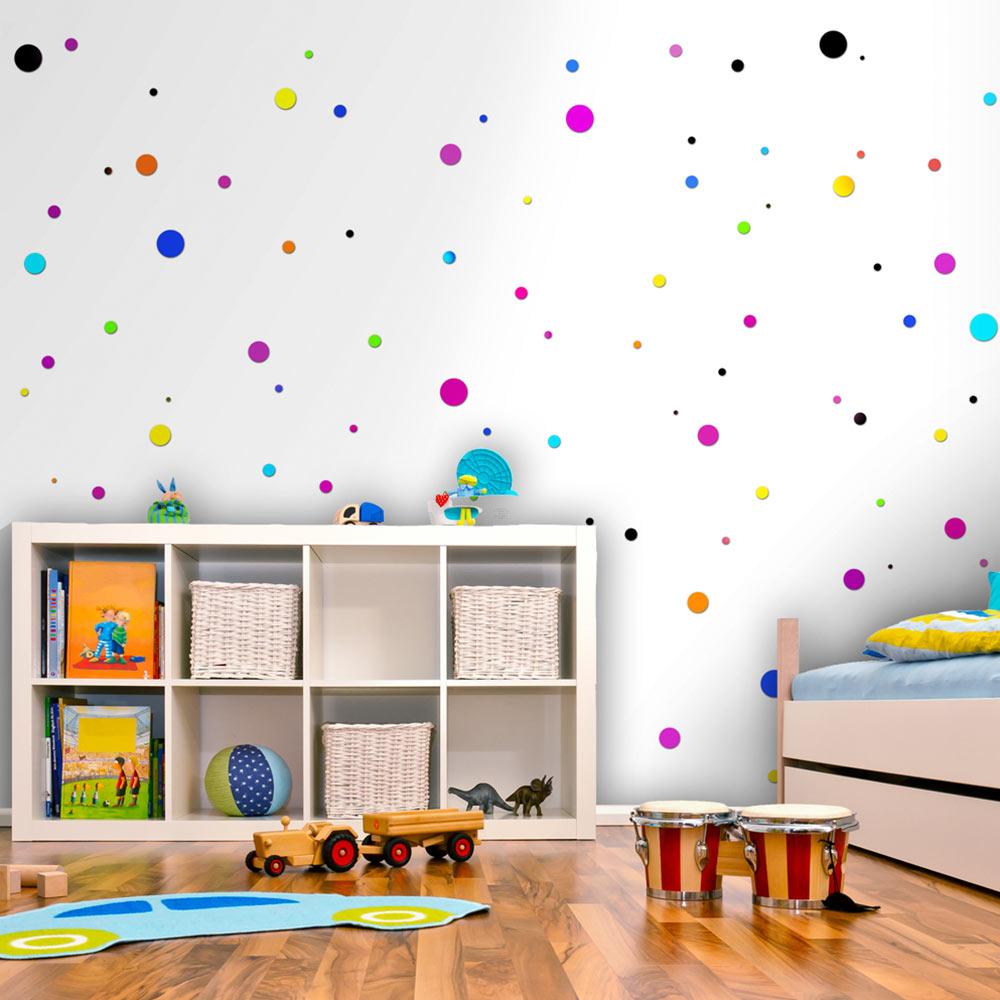 Carta da parati piccoli pois multicolor fotomurale carta for Carta parati bambini