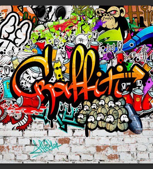 Carta da parati graffiti colorati fotomurale carta parati for Murales per cucina