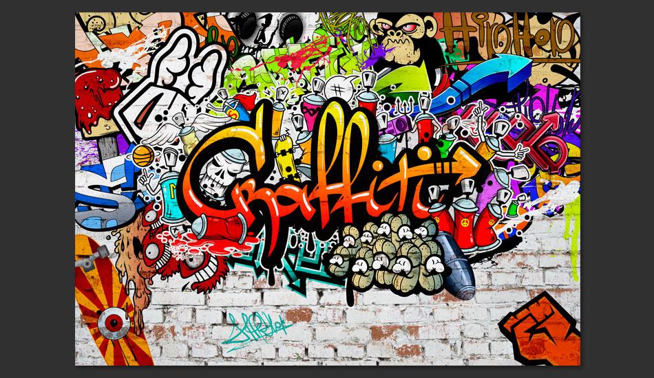Carta Da Parati Graffiti Colorati Fotomurale Carta Parati