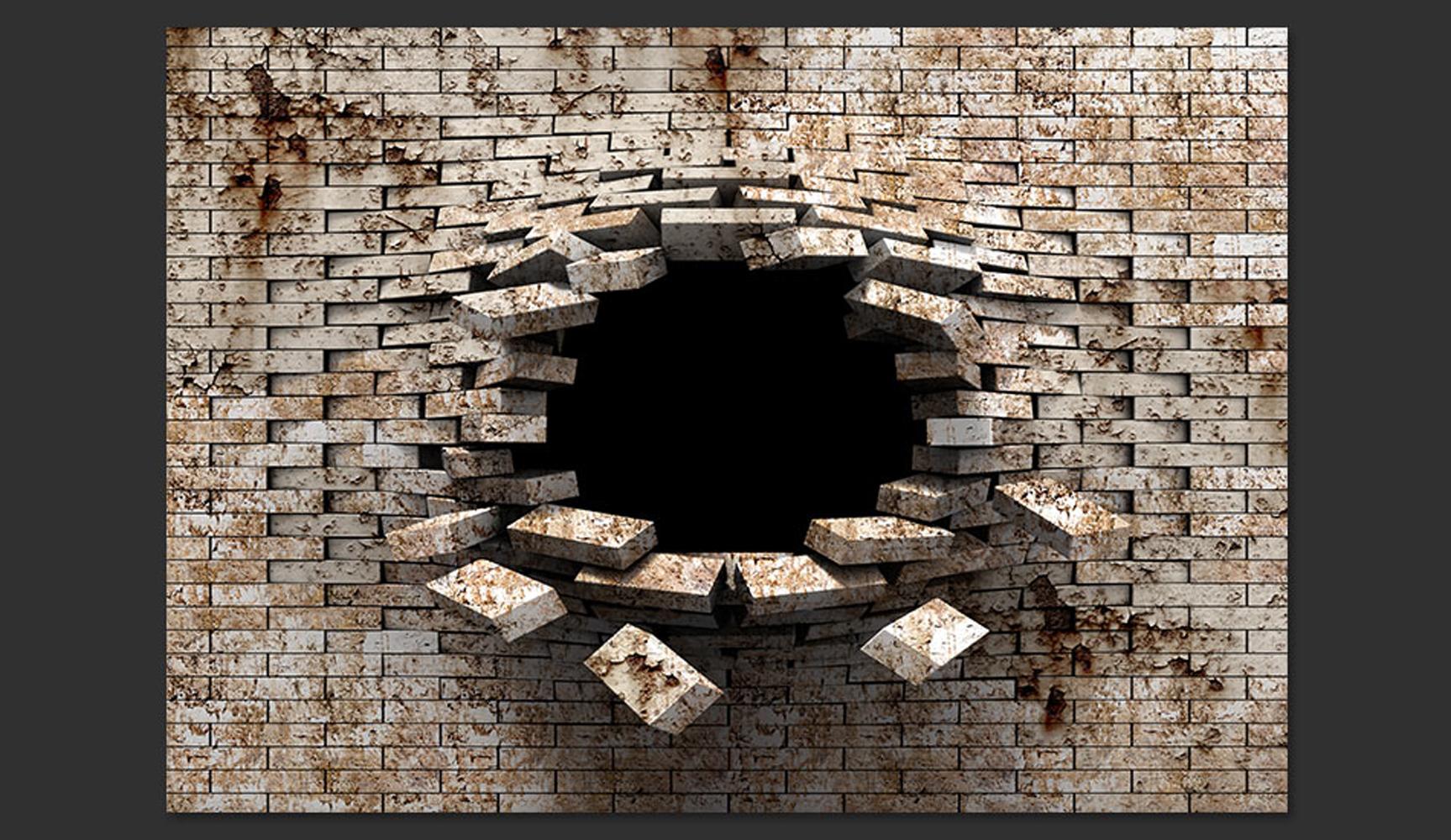 Carta da parati buco nel muro in mattone fotomurale for Carta da parati muro