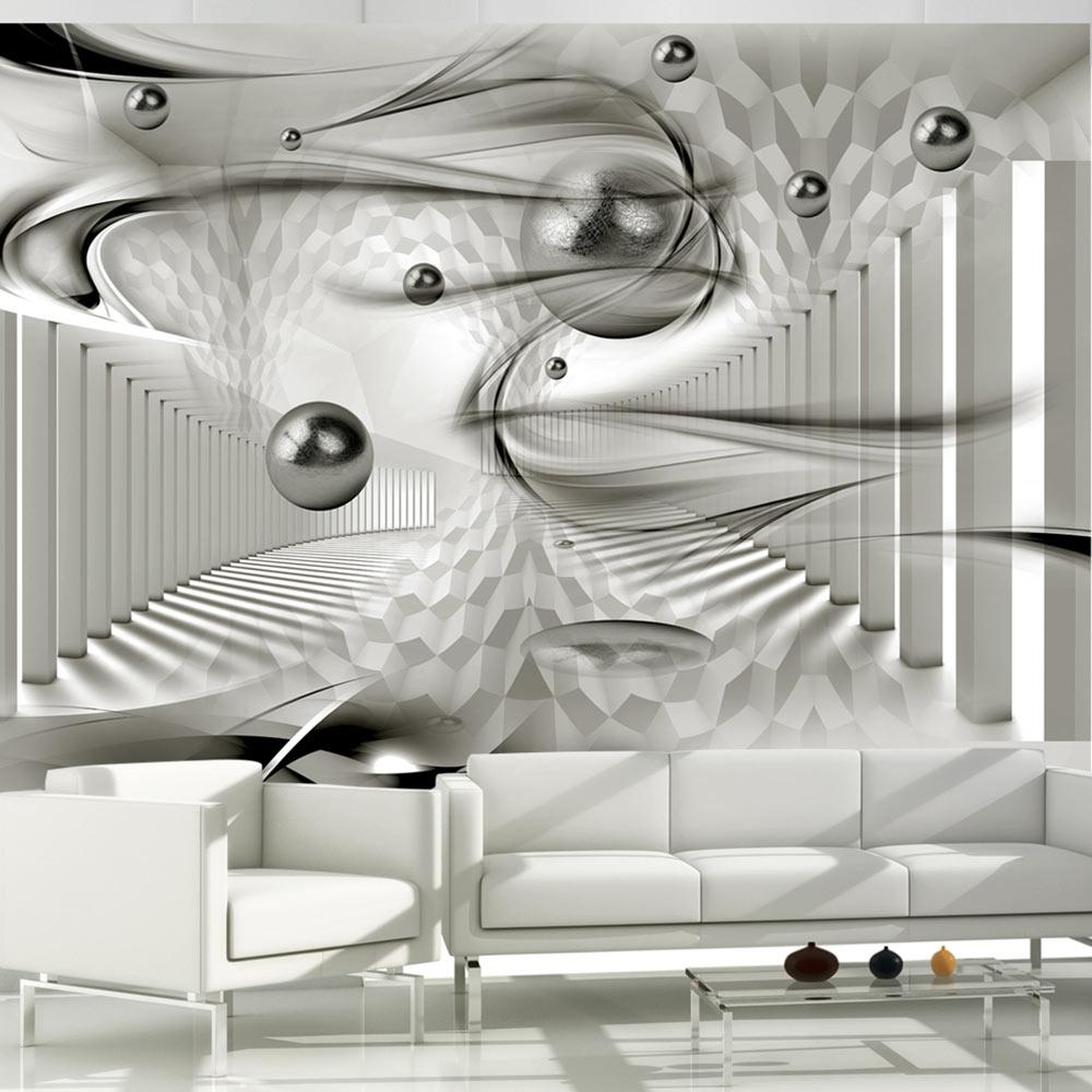 Carta da parati fantasia metallica e sfere fotomurale for Carta da parati design 3d