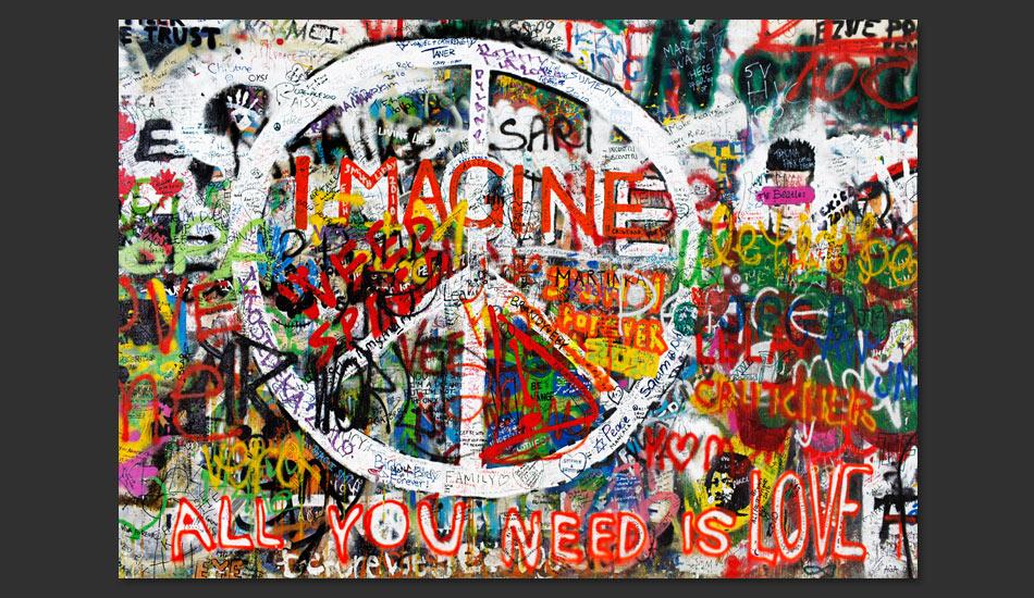 Carta da parati graffiti hippie fotomurale carta parati for Carta da parati artistica