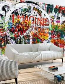 Carta Da Parati Murales.Carta Da Parati Street Art Stile Pop In Graffiti E Murales