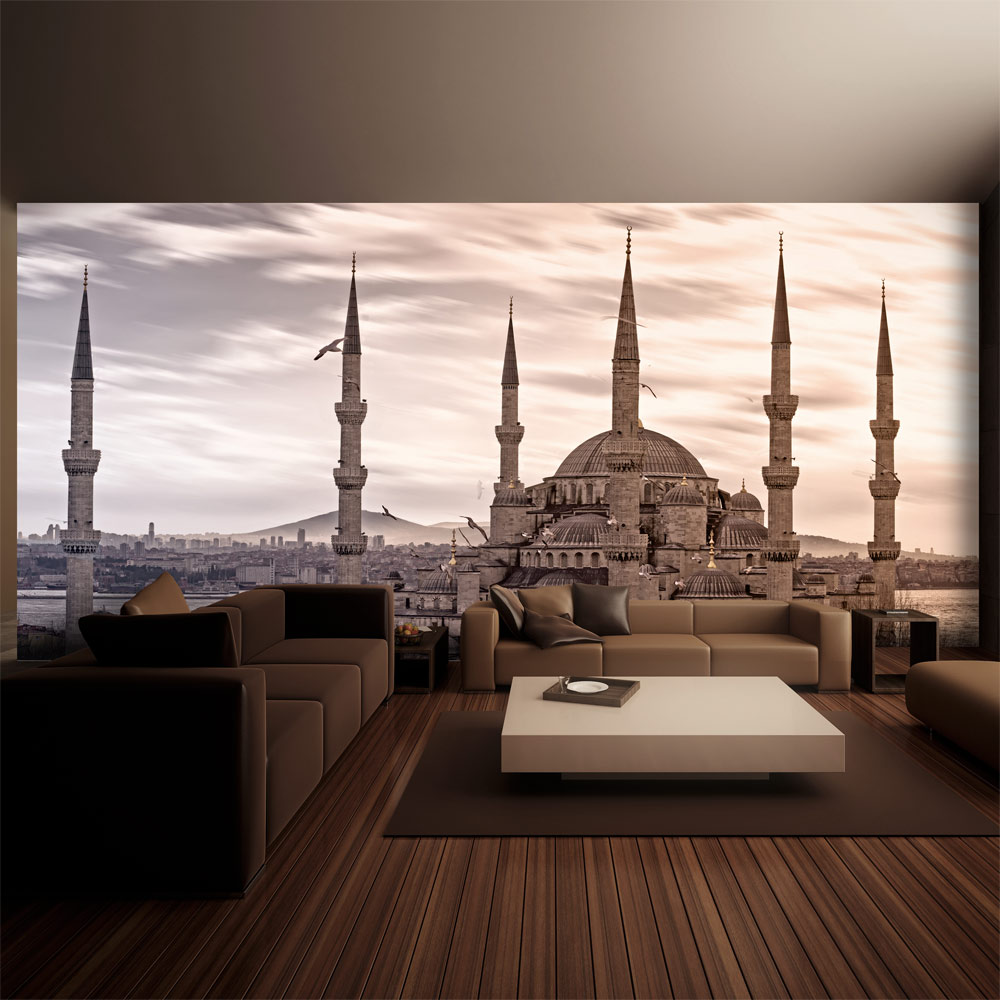 Carta da parati moschea blu istanbul fotomurale carta for Carta parati blu