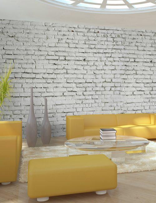 Carta da parati parete bianca con mattoncini fotomurale for Carta da parete