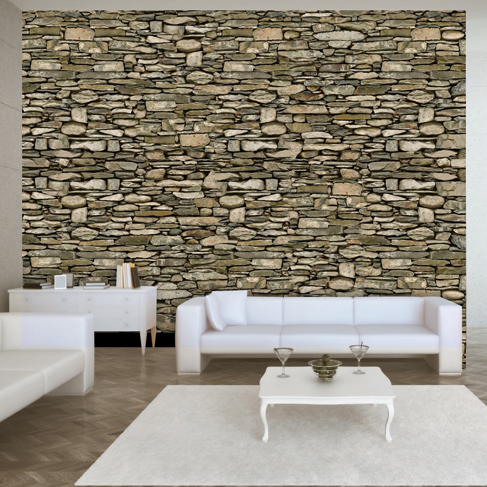Carta da parati parete di pietra fotomurale carta parati - Parete rivestita in pietra ...