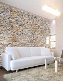 Carta da parati effetto pietra rustica per un muro agreste for Carta da parati effetto pietra 3d