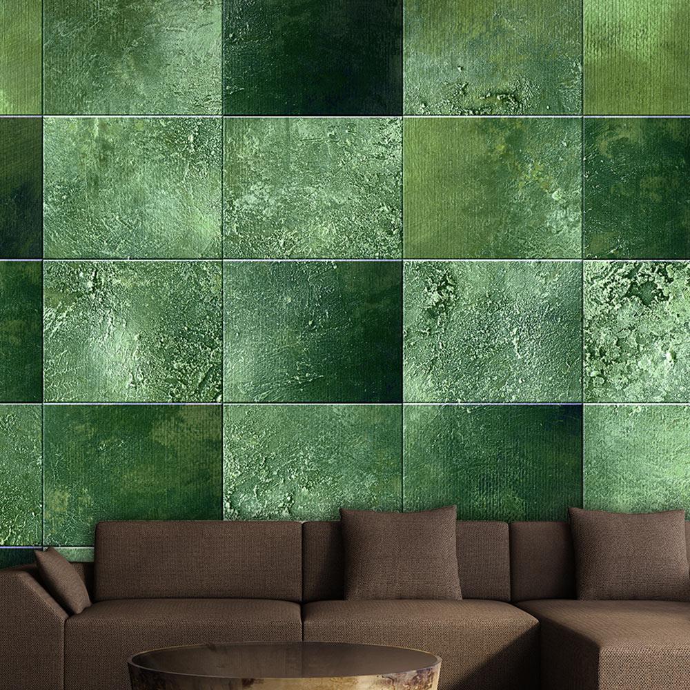 Carta da parati puzzle di rettangoli verde fotomurale for Carta parati verde