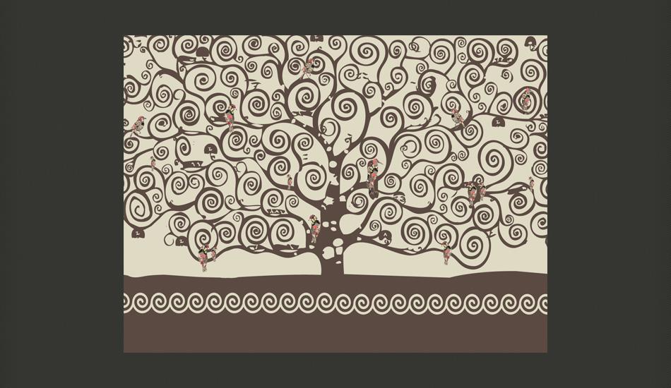 Carta da parati albero della vita klimt fotomurale for Carta da parati alberi stilizzati