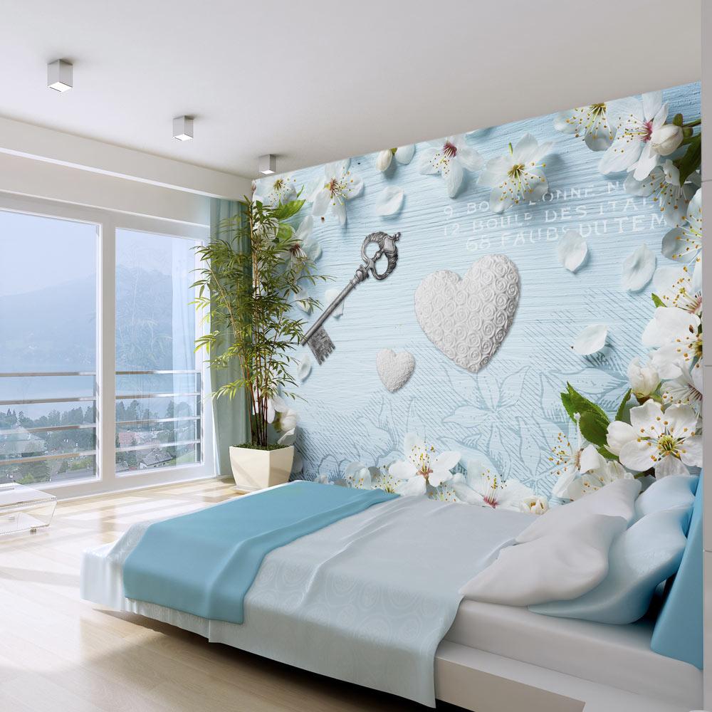 Carta da parati chiave del cuore con fiori fotomurale - Colori murali per camere da letto ...