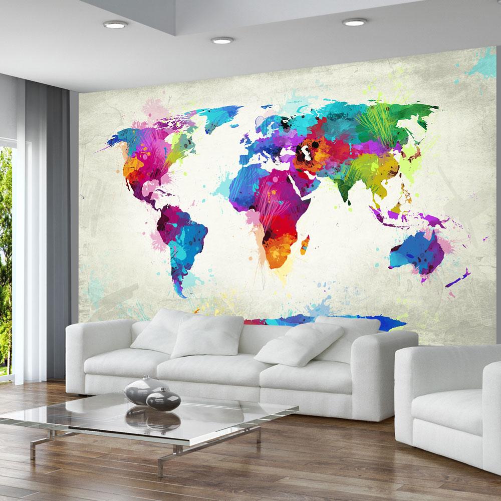 Carta da parati mappamondo arcobaleno fotomurale carta for Carta da parati cartina geografica
