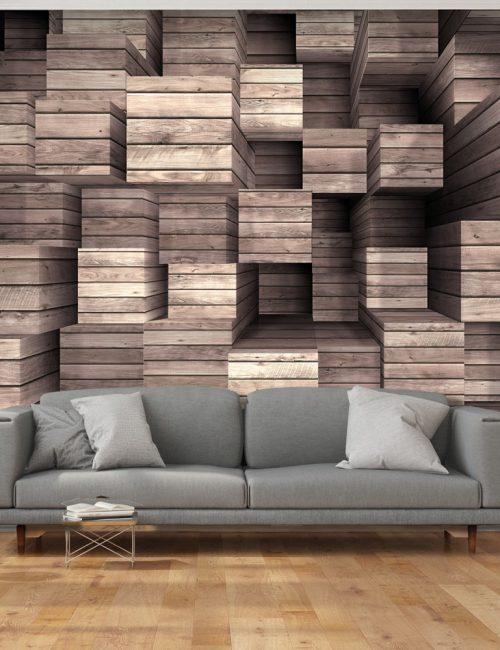 Carta da parati sporgenze in 3d di legno fotomurale for Parati 3d prezzi