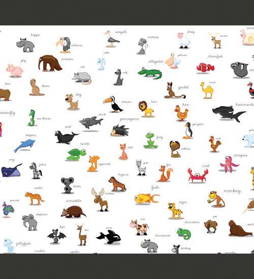 Carta da parati animali in inglese fotomurale carta parati - Animali terrestri per bambini ...