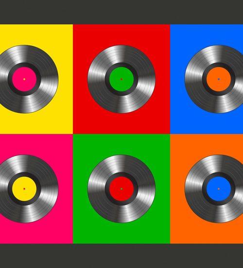 Carta da parati disco vinile pop art fotomurale carta for Carta parati vinile